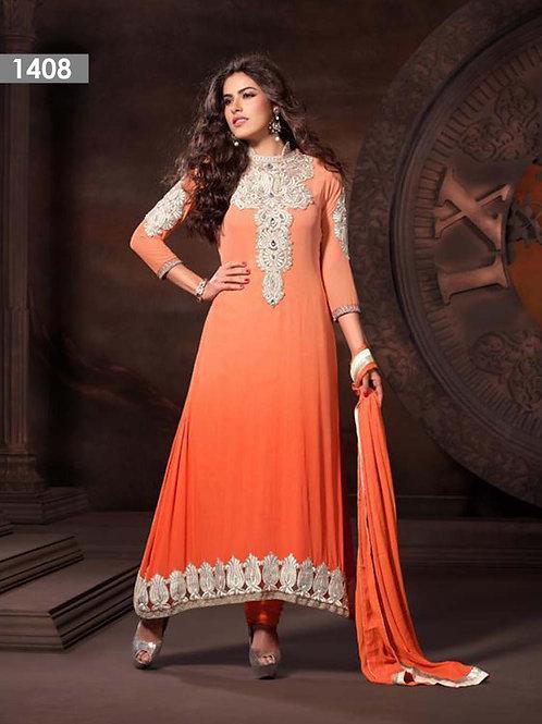 1408 Orange Georgette Designer Suit