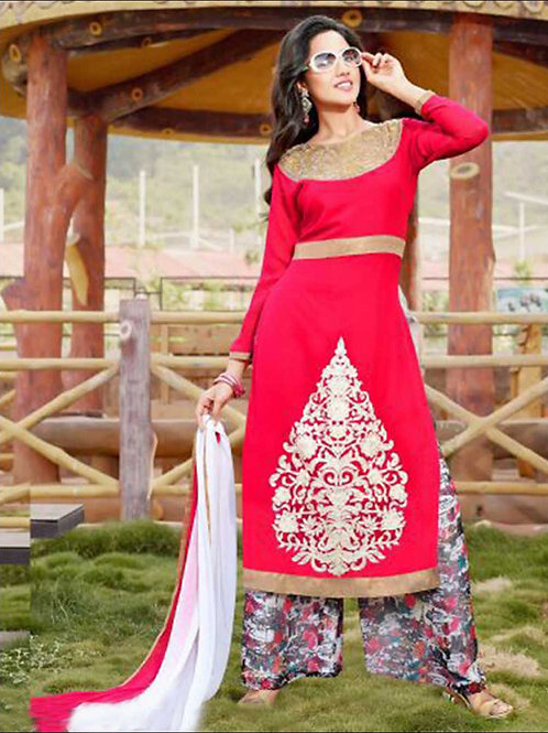 1409 Red and White Plazo Suit