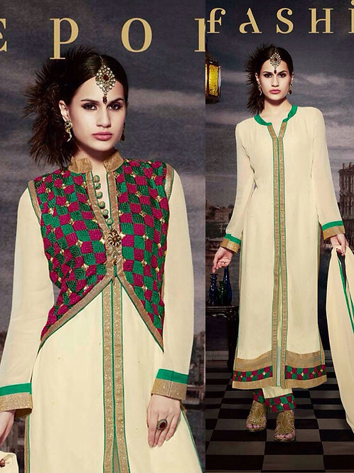 10117 Ivory and Sea Green Faux Georgette Designer Suit