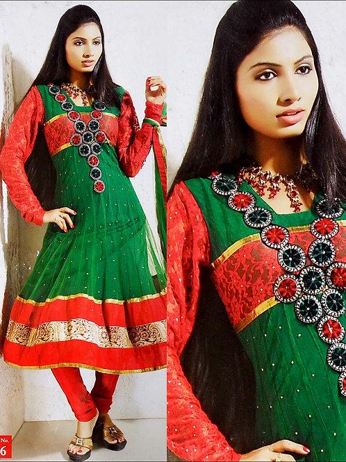 16 Orange Red and Green Net Anarkali Suit