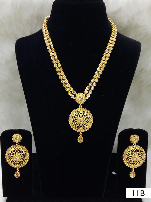 11B White Diamond Work Necklace Set with Maang Tika