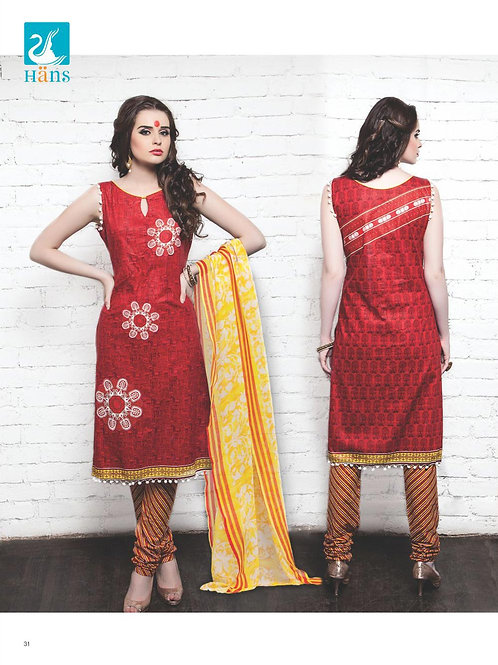 17Red and White Cotton Satin Pakistani Suit