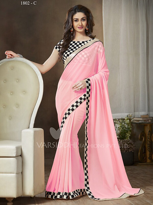1802C Pink and Black Party Wear Georgette Saree