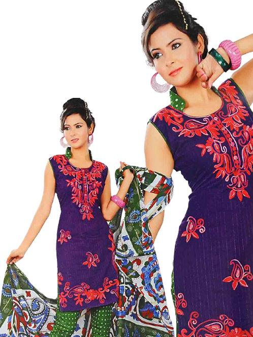 1308 Dark Purple and Green Salwar Suit