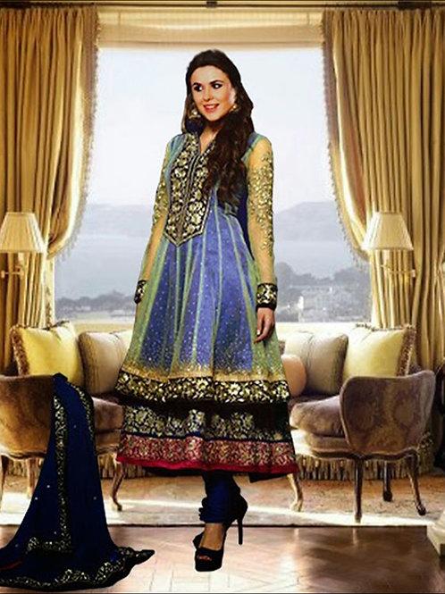 06Blue and Golden Anarkali Suit