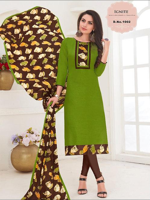 1002 Parrot Green Designer Salwar Suit