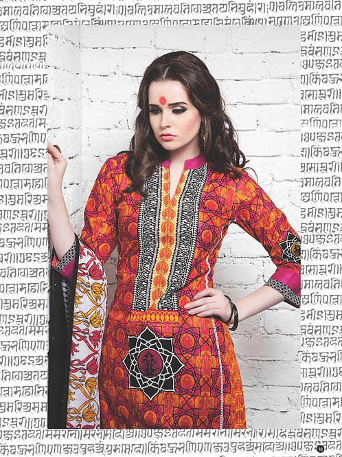 10Pink Red and Yellow Cotton Satin Pakistani Suit