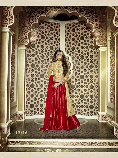1208 Golden and Red Heavy Net Designer Suit