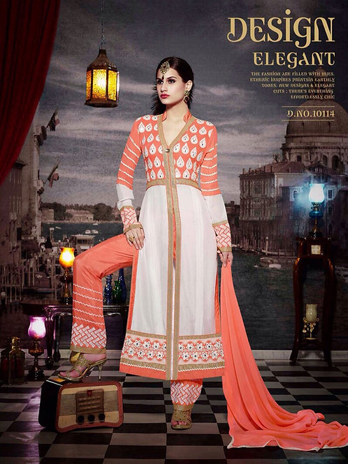10114 Carrot Orange and Ivory Faux Georgette Designer Suit