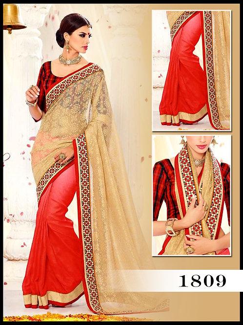 1809Cream and Shaded Red Designer Saree