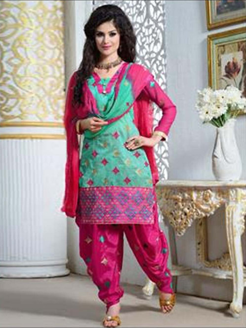 1604DeepPink and SeaGreen Party Wear Chanderi Cotton Patiyala Suit