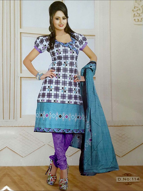 114 White and Gray Printed Salwar Suit