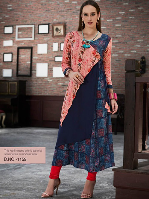 1159 Light Red and Blue Designer Gown Style Stitched Kurti