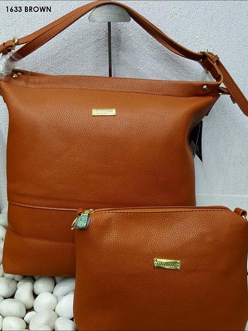 1633 Brown Stylish Combo Women Handbag