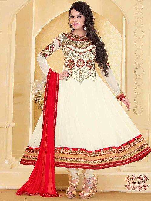 1007 Designer Cream Georgette Anarkali Suit