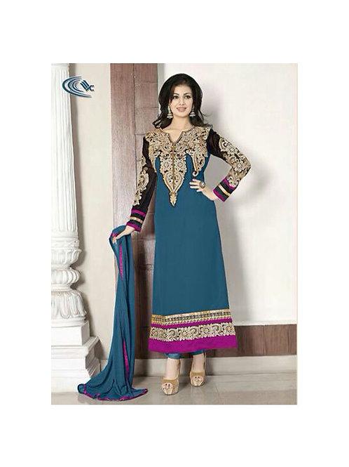 1010BlueGreen Party Wear Georgette Anarkali Suit