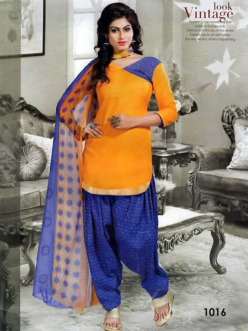 1016 Mango Yellow Colored Mix Cotton Patiala Suit