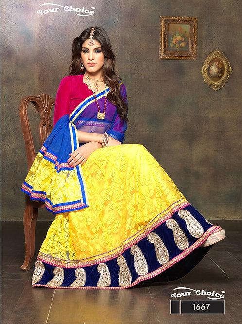 1667Red and Yellow Net Brasso Party Wear Lehenga Choli