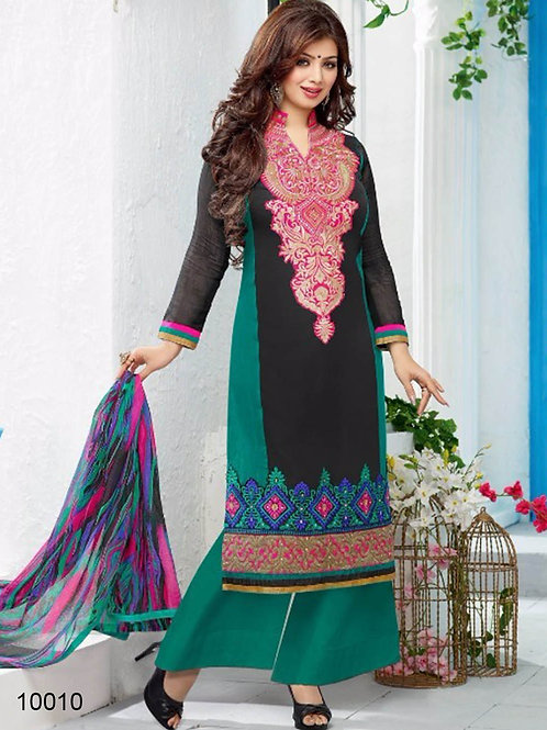 10010 Black and Sea Green Pure Cambric Cotton Straight Suit