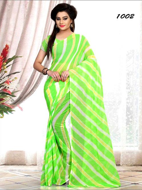 1002 Mint Green Printed Laheriya Saree