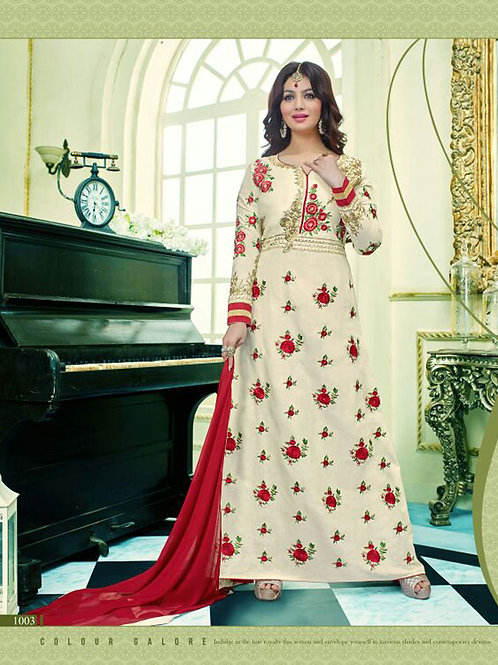 1003Designer Ivory and Red Glace Cotton Party Wear Semi-stitched Designer Suit