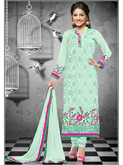 1114MagicMint and Magenta Georgette Straight Suit