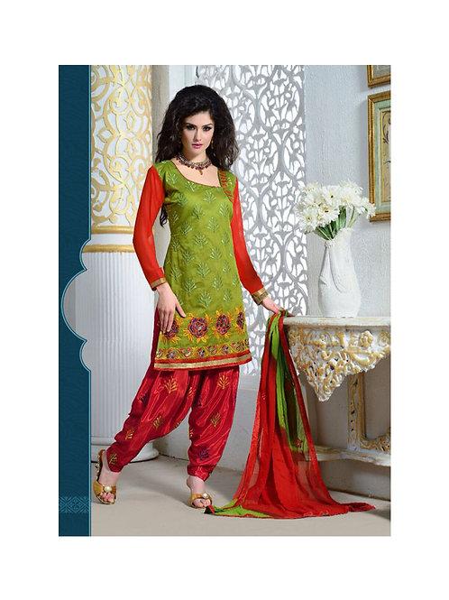 1610Mehandi Green and Red Patiyala Suit