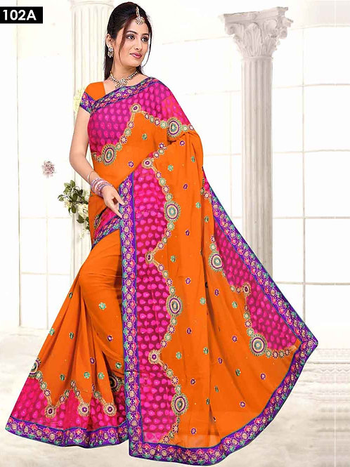 102A Orange and Magenta Designer Saree