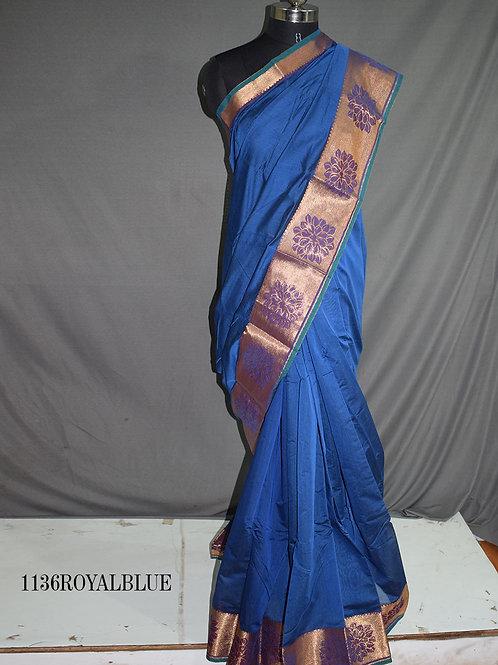 1136 Teal Blue Colored Kotta Cotton Saree