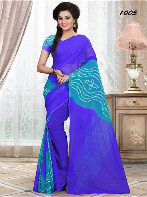 1005 Blue Printed Laheriya Saree
