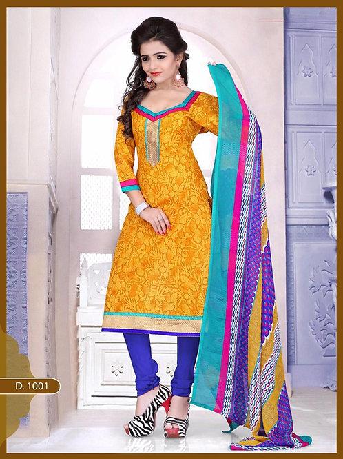 1001 Designer Yellow Chudidar Suit