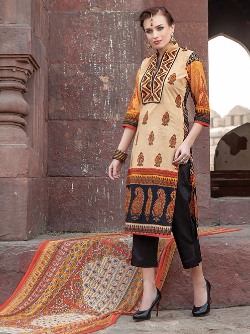 0011Beige and Black Printed Cambric with Neck Work Daily Wear Designer Suit