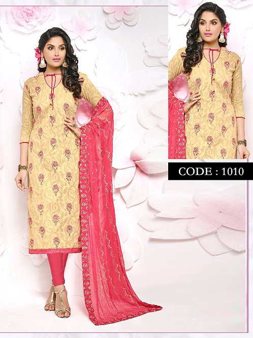 1010Beige Designer Occasion Wear Straight Suit