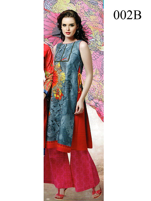 002B SteelBlue and Pink Lawn Cotton Chudidar Suit