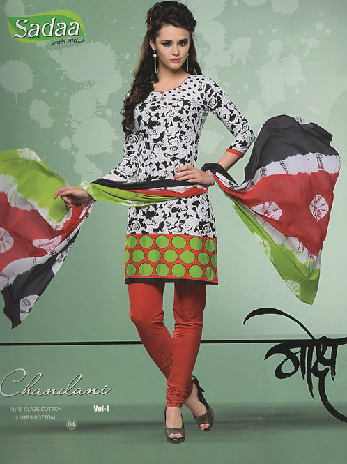 04 Black and White Cotton Chudidar Suit