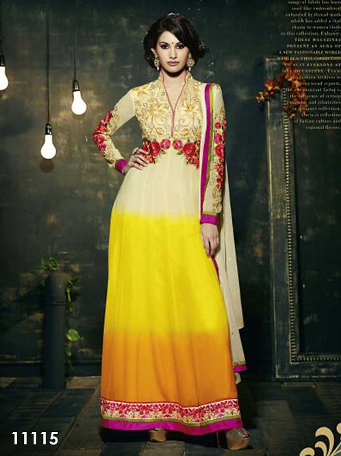 11115 Ivory and Yellow Anarkali Suit