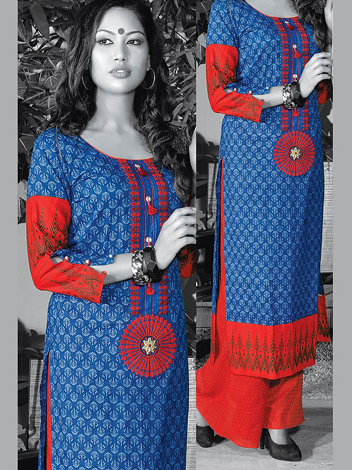 0951A Blue and Red Cotton Palazzo Suit