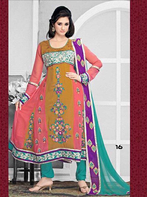 16 Brown and Pink Designer Anarkali Suit