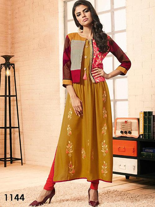 1144 Dark Yellow Designer Western Style Gown