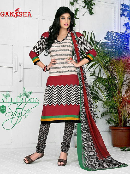 12014CornellRed and Black Daily Wear Cotton Print Salwar Suit