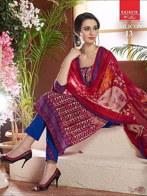 13Ivory and Red Designer Un-stitched Straight Suit