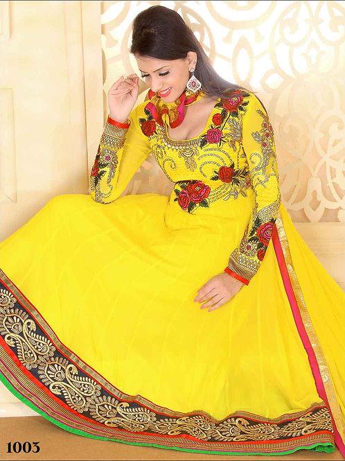 1003 Designer Yellow Georgette Anarkali Suit