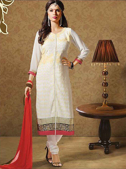1007Beige and White Georgette Straight Suit