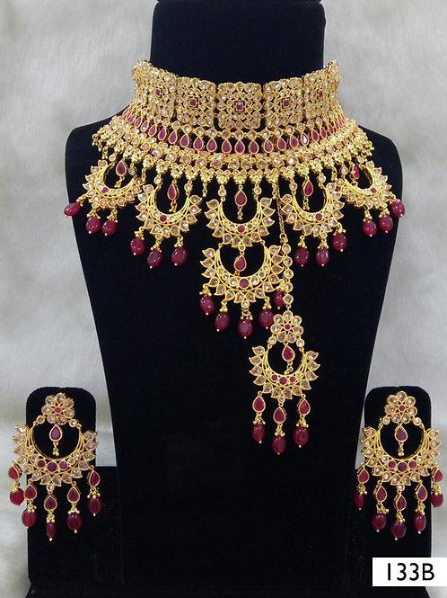 133B Maroon Bridal Wear Necklace Set With Maang Tika