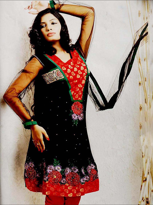 08 Black and Red Net Anarkali Suit