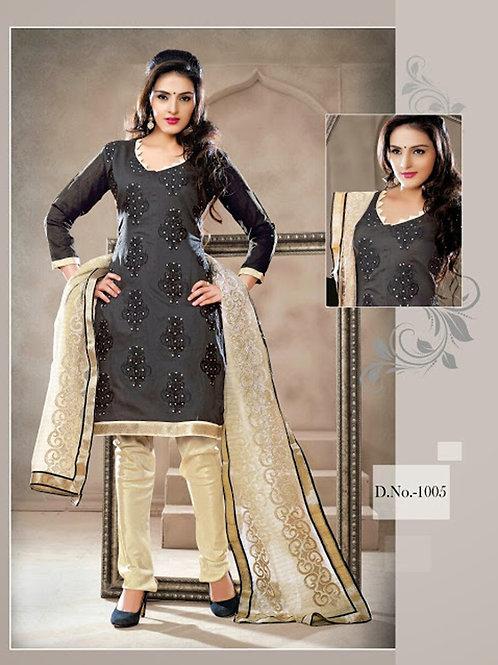 1005 Black and Ivory Chudidar Suit