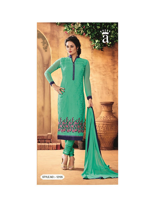 12105SeaGreen Party Wear Foux Georgette Straight Suit
