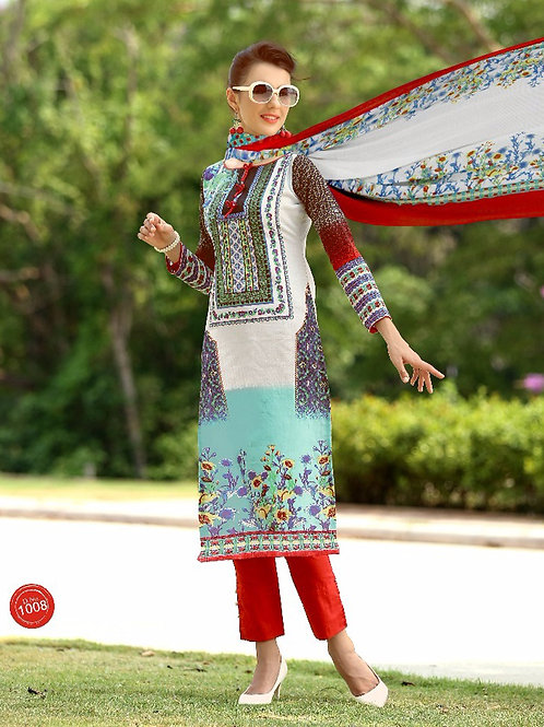 1008Red and Skyblue Silk Crape Daily Wear Straight Suit