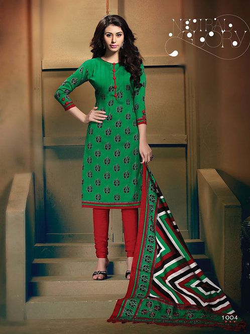 1004Green and Red Daily Wear Heavy Banglori Printed Salwar Suit