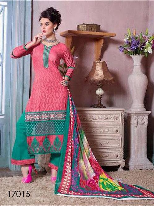 17015Pink & Green Designer Plazo Suit